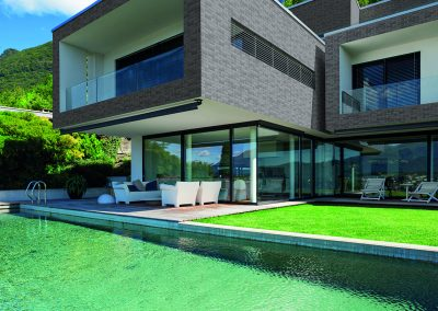 Pool and modern house